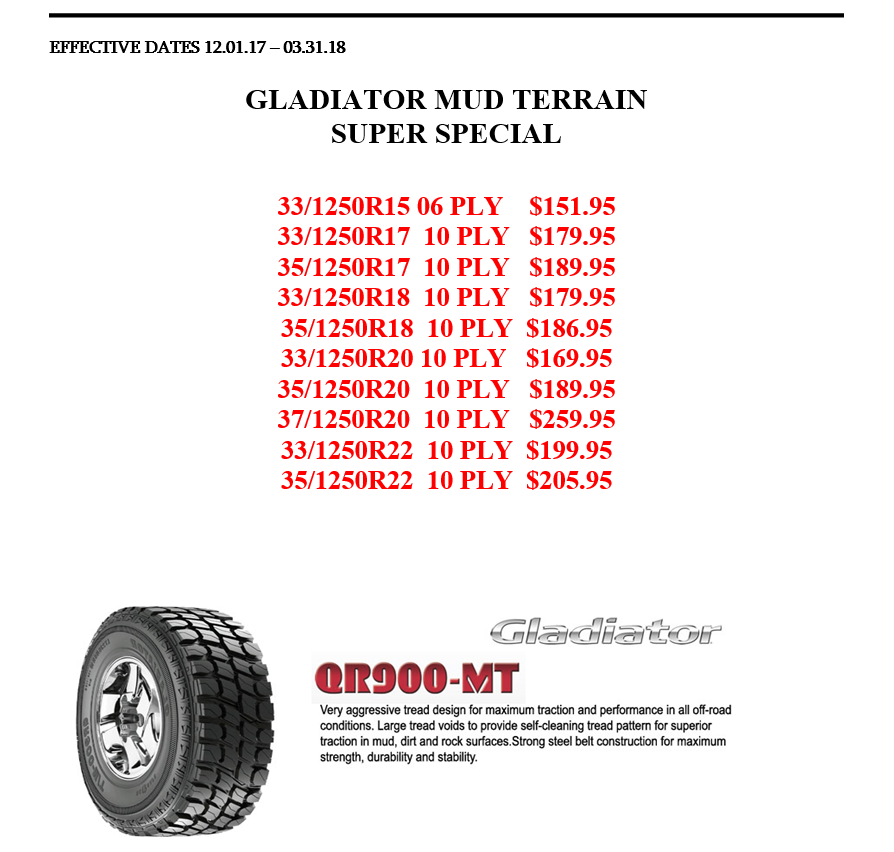 Gladiator Tire Special