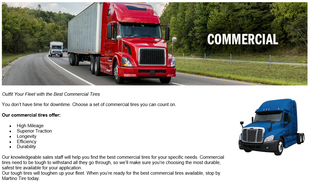 Commercial Tires Available at Martino Tire